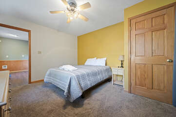 Bedroom with Large Bed, bureau and Porch Access