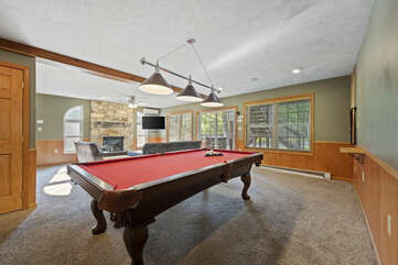 Game Room with Pool Table in our Poconos House Vacation Rental