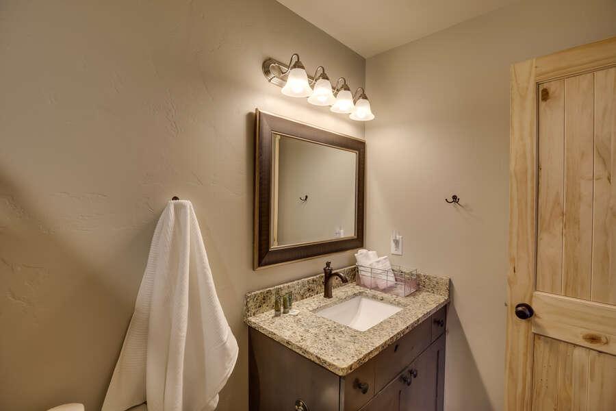 Buck Buck Moose ~ bedroom #6 on upper level w/ queen bed and private ensuite bathroom