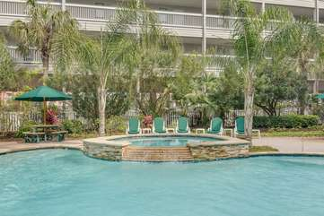 This pool features a