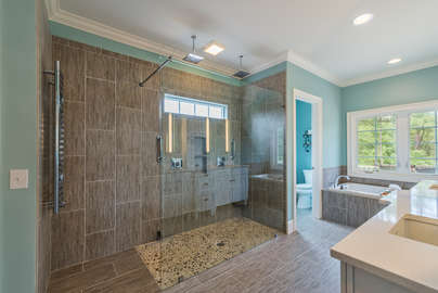 Master bath with huge walk-in shower