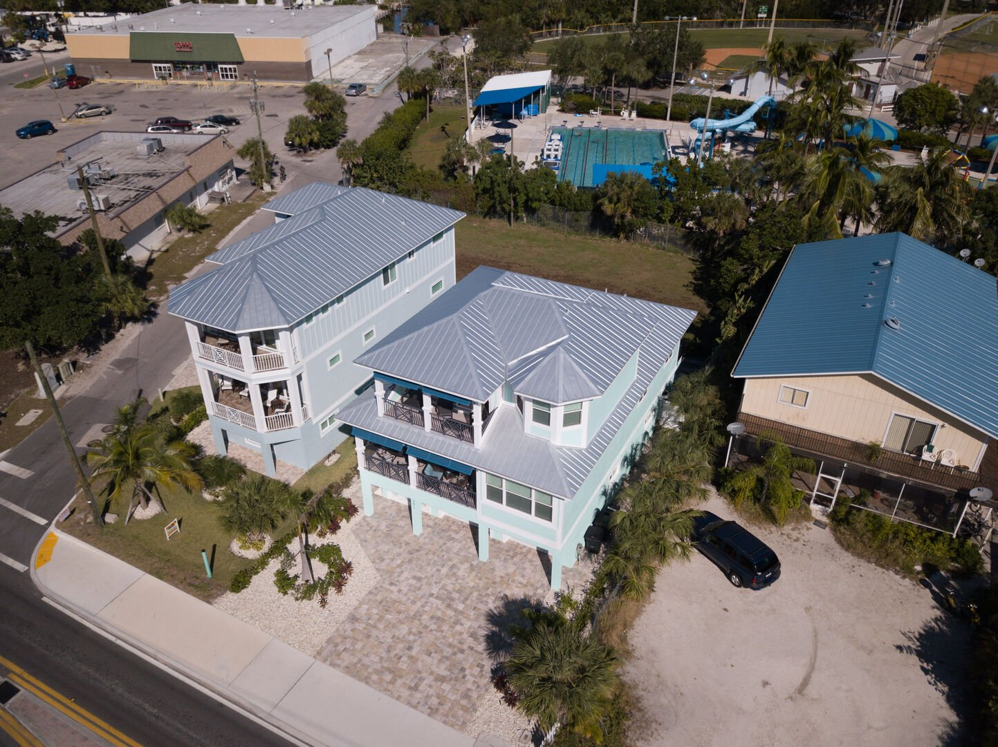 Aerial view of this vacation rental Fort Myers Beach Florida