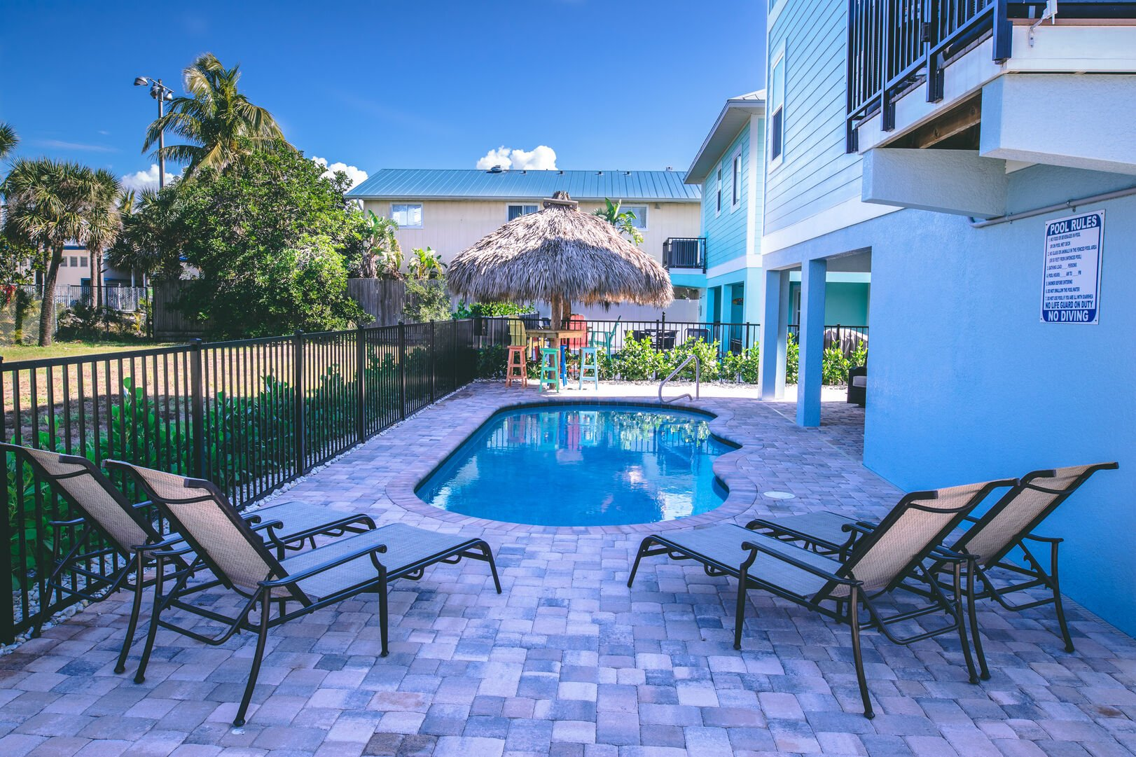 Pool outside of this vacation rental Fort Myers Beach Florida