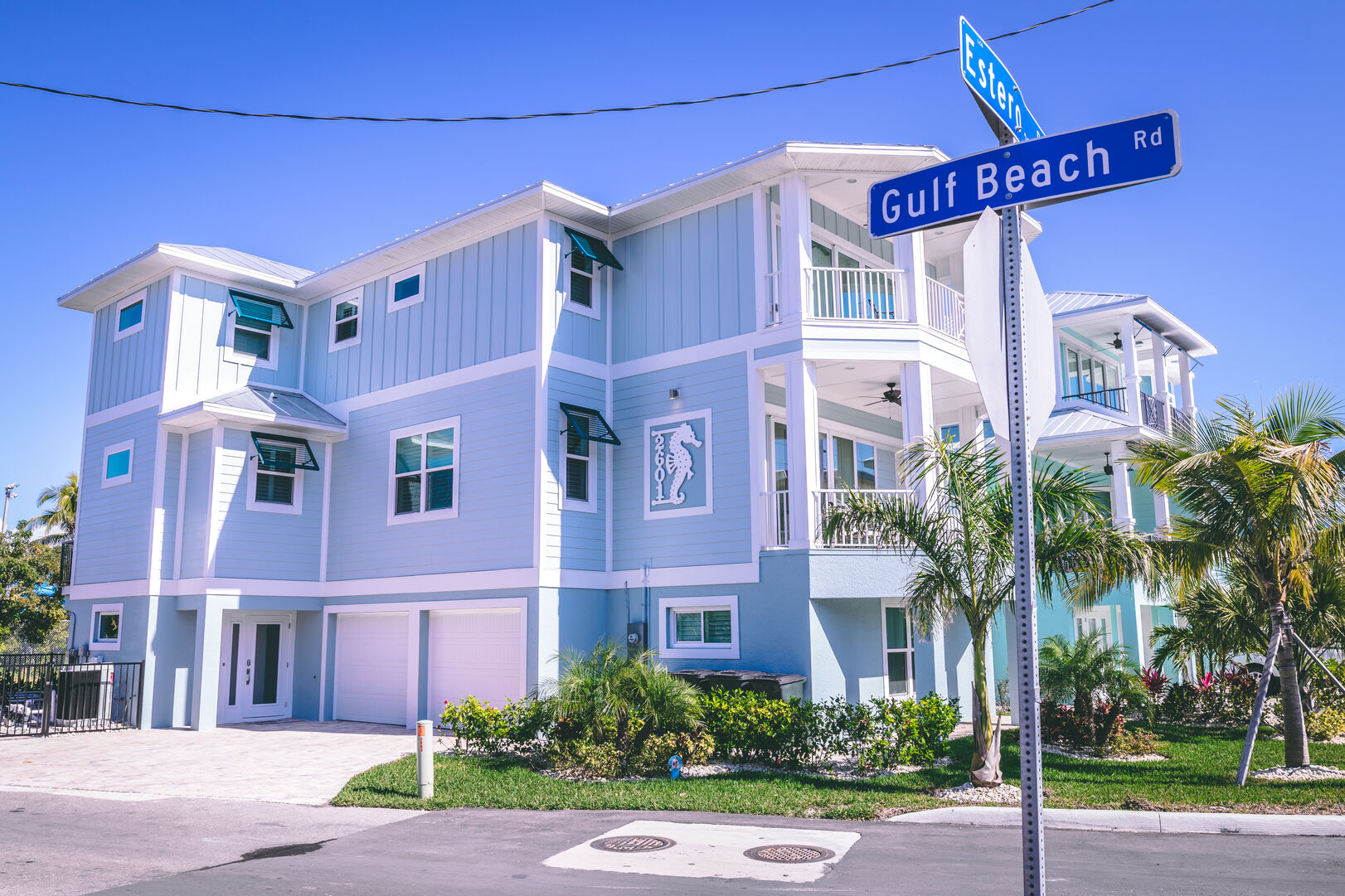 Street view of this vacation rental Fort Myers Beach Florida