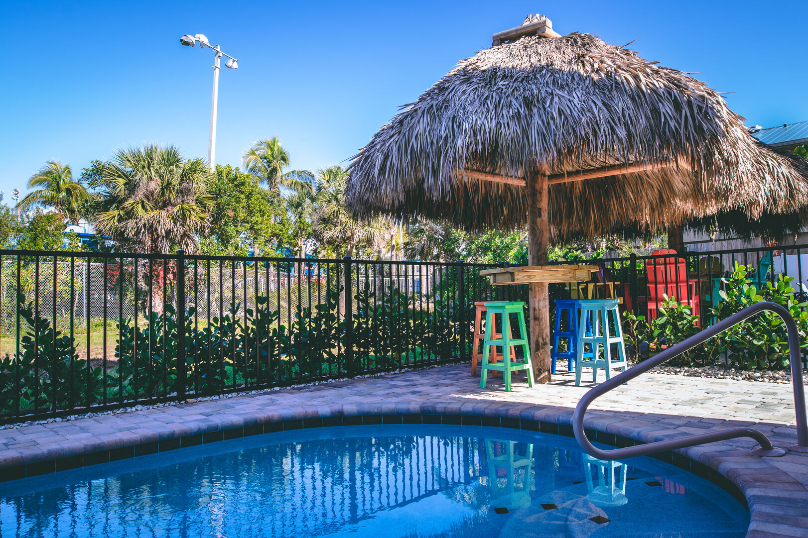 Pool area outside of this vacation rental Fort Myers Beach Florida