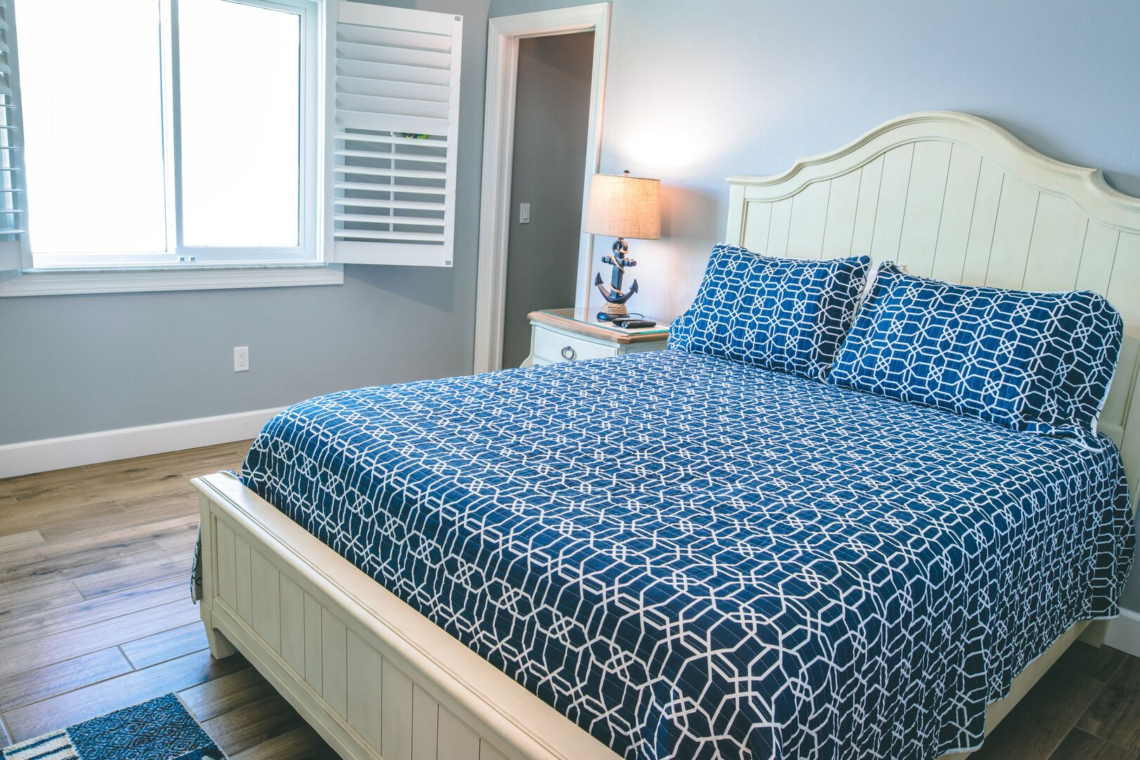 Bedroom with blue covers