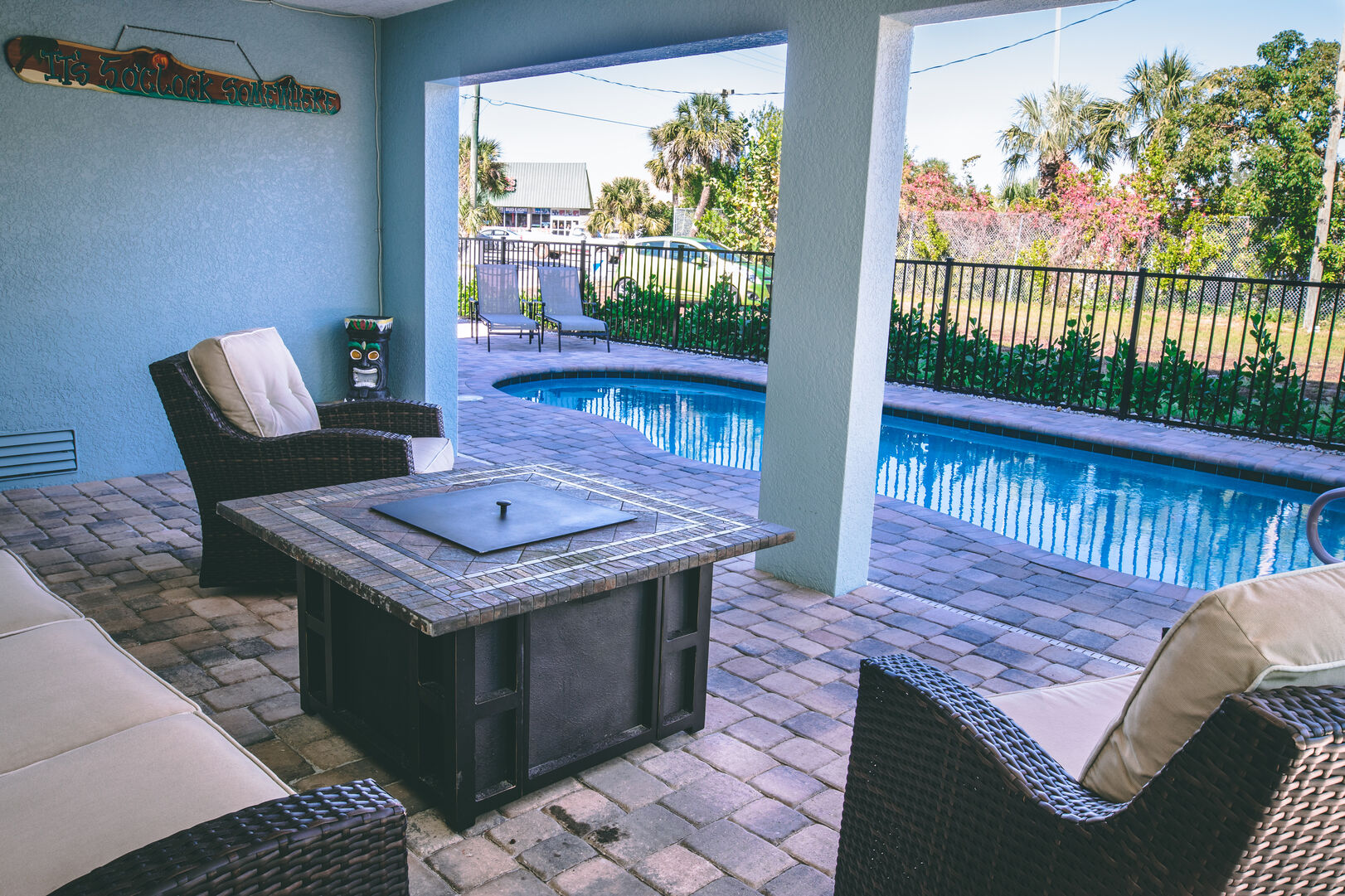 Outside of this vacation Rental Fort Myers Beach Florida with pool and fire pit
