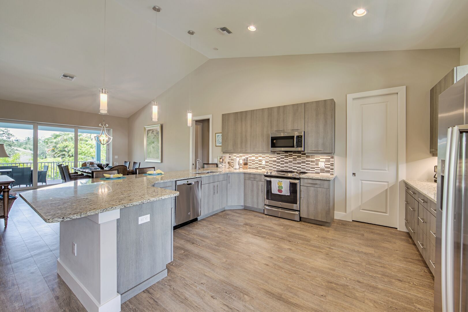kitchen area with island and oven