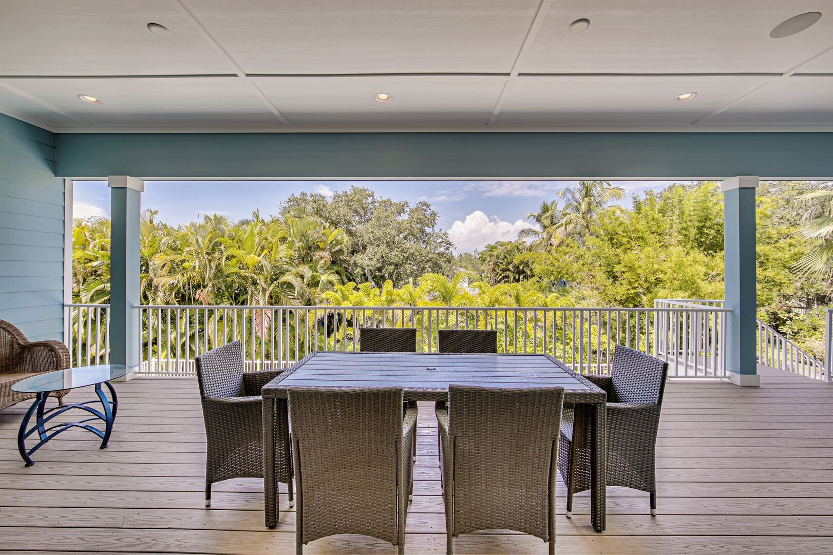 Outdoor seating area at this vacation rental near Fort Myers Beach