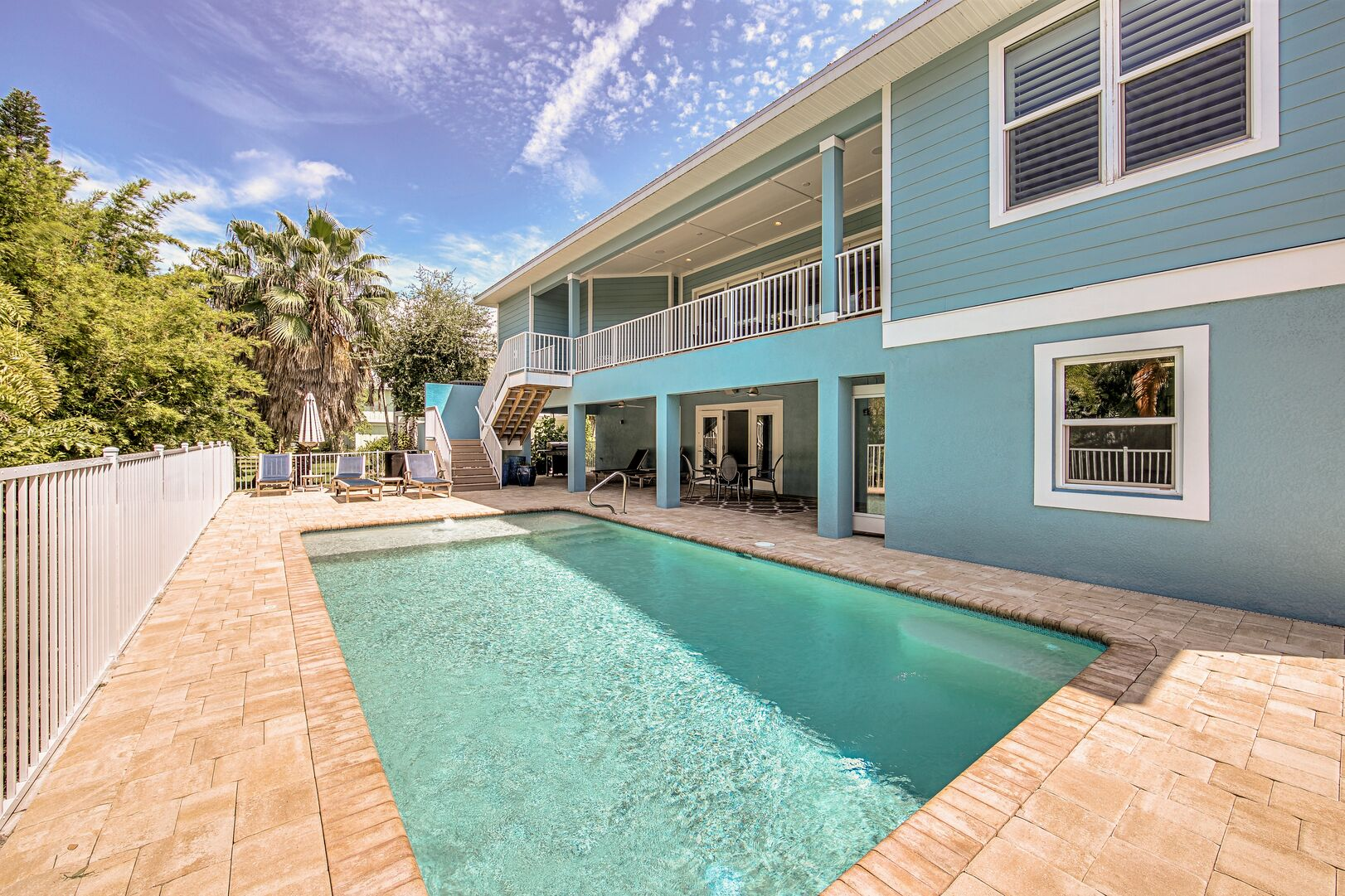 This vacation rental near Fort Myers Beach has a pool