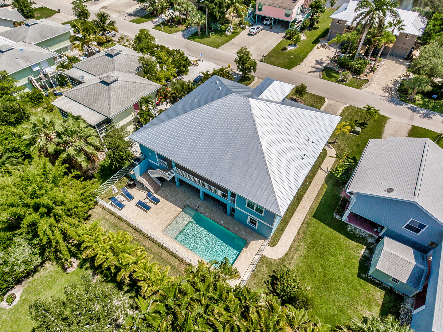 Aerial view of property and pool