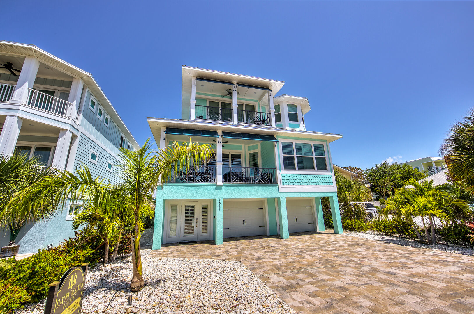 Angled photo of the front exterior of this Fort Myers Beach rental.