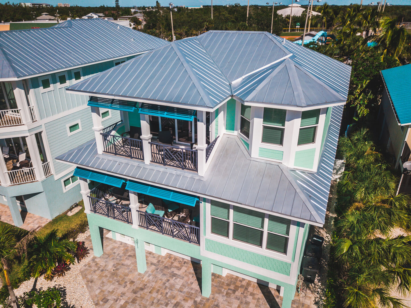 Aerial view of this Fort Myers Beach Rental.
