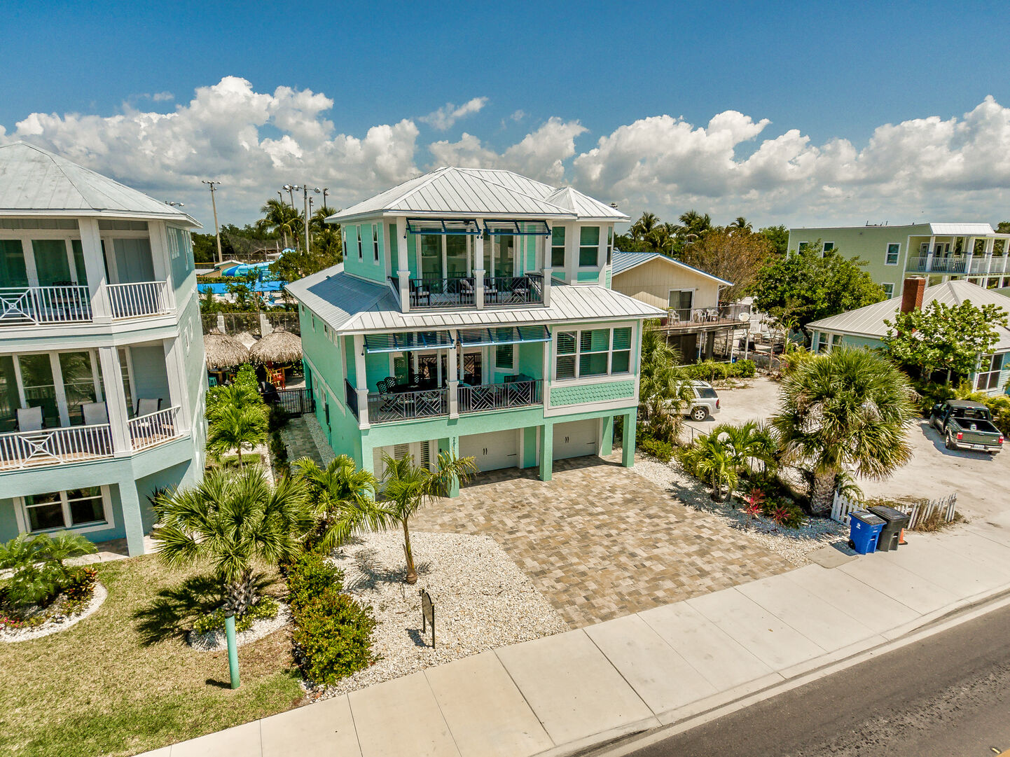 Aerial photo of this Fort Myers Beach rental from a distance away.