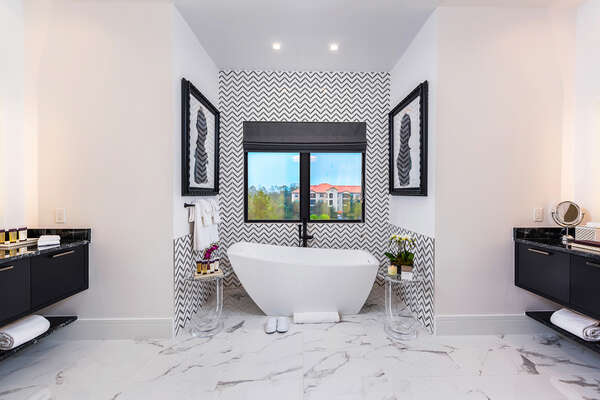 Luxury even extends to the en-suite bathrooms with marble floors