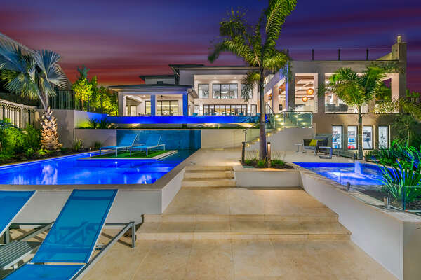 A beautiful view of the multi-level salt water pool and jacuzzi