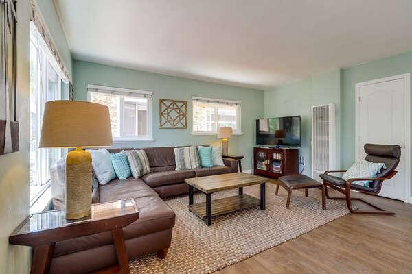 Comfortable, beachy living room