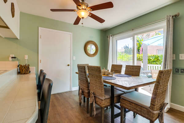 Dining table to seat six by window