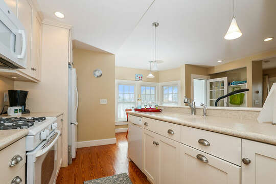 View from kitchen to the dining nook-325 Main Street Chatham Cape Cod - New England Vacation Rentals