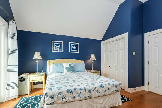 Bedroom #1 second floor, queen bed, closet and entrance to Jack and Jill Bath -325 Main Street Chatham Cape Cod - New England Vacation Rentals