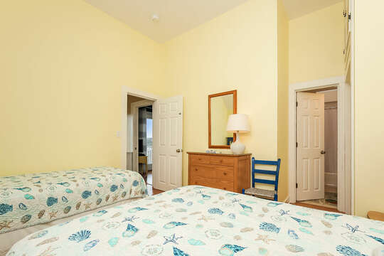 Bedroom #2 with full and twin beds, entrance on the right to Jack and Jill bathroom-325 Main Street Chatham Cape Cod - New England Vacation Rentals
