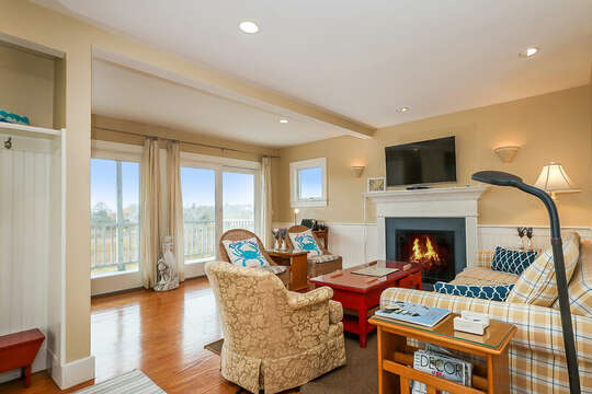 Living room with large flat screen tv and plenty of seating-325 Main Street Chatham Cape Cod - New England Vacation Rentals