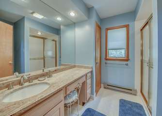 Bathroom with Shower, Sink, and Extra Counter Space.