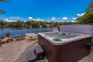 Hot Tub Area with Water View in our Poconos Lake View Vacation Rental.