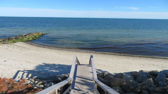 Stairway at the end of the road to Grey Neck Beach - West Harwich Cape Cod - New England Vacation Rentals