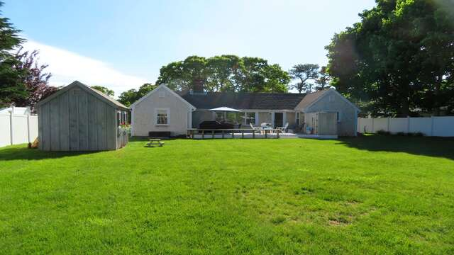 Large flat back yard allows plenty of room for a wiffle ball game or to kick a ball around. Fully fenced in! - 25 Grey Neck Road West Harwich Cape Cod - New England Vacation Rentals