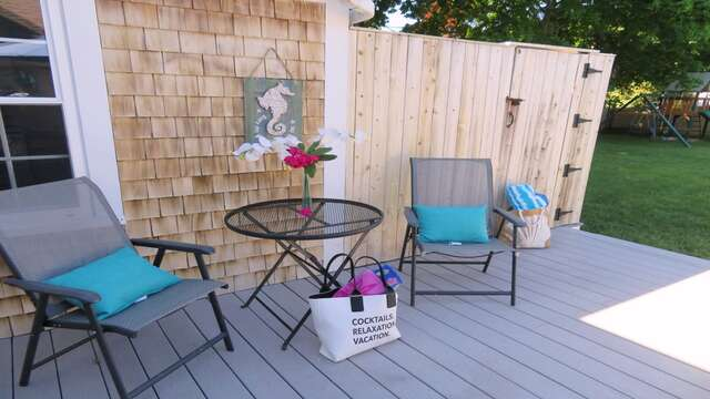 Enjoy your favorite libation at the café table while you wait to be next to take an out door shower (enclosed with hot and cold water!), a tradition on the Cape! - 25 Grey Neck Road West Harwich Cape Cod - New England Vacation Rentals