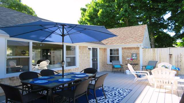 Large back deck to relax on - 25 Grey Neck Road West Harwich Cape Cod - New England Vacation Rentals