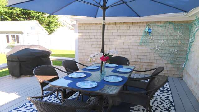 Dining on the deck is perfect with the gas grill - 25 Grey Neck Road West Harwich Cape Cod - New England Vacation Rentals
