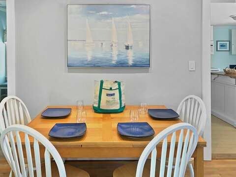 Dining area with view of the kitchen to the right- 25 Grey Neck Road West Harwich Cape Cod - New England Vacation Rentals
