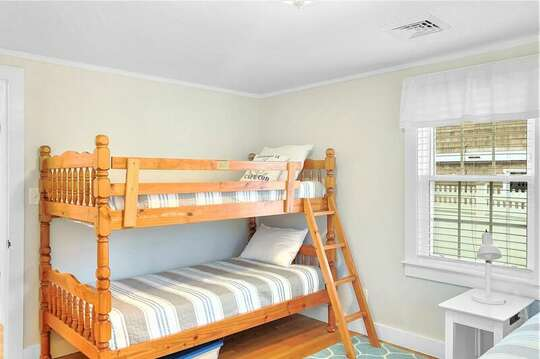 Bedroom 2 with  bunk beds and a Queen bed - 25 Grey Neck Road West Harwich Cape Cod - New England Vacation Rentals