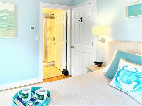 Bedroom #1 with Queen bed offers an en suite full bath  - 25 Grey Neck Road West Harwich Cape Cod - New England Vacation Rentals