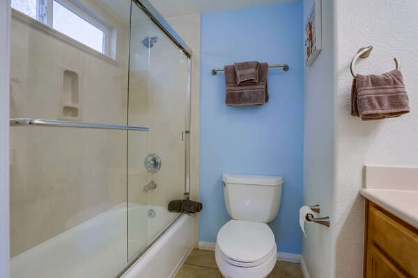 Ground floor bathroom with tub/shower combo