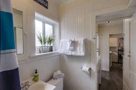 Window in bathroom brings in natural light.