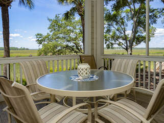 Enjoy outdoor dining with incredible low country views