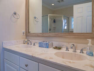 Updated, en suite master bath with double vanity