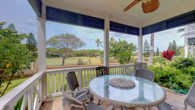 First Floor Lanai of this ko olina vacation rental with Dining Table and Golf Course Views
