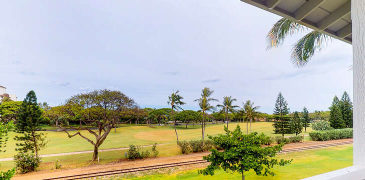 The Golf Course from your ko olina vacation rental's 2nd Floor Lanai.  Wave to the tourists as they pass through the resort on an open-air train 2 or 3 times per week