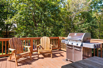 grill on the porch of a home for rent in lake harmony pa