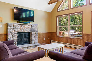 living room with flat screen tv and two couches