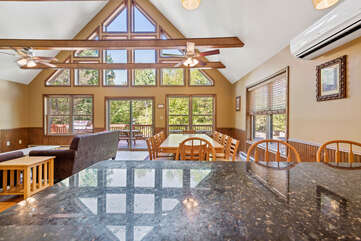 view of dining room from kitchen island