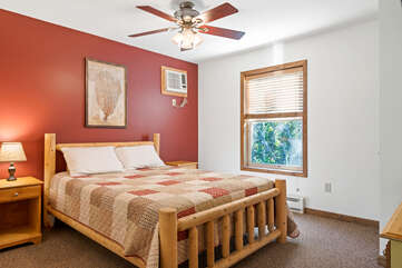 red bedroom with single bed