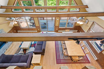 bird's eye view of living room sofas and tables