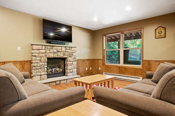 basement rec room with two couches and a tv