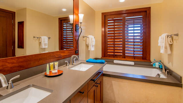 The Master Bath has both a Deep Soaking Tub and a Large Walk-in Shower