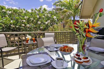 Lele Penthouse Patio with outdoor dining, ocean view and BBQ grill